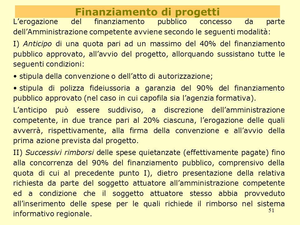 51 Finanziamento di progetti L'erogazione del finanziamento pubblico concesso da parte dell'Amministrazione competente avviene secondo le seguenti mod