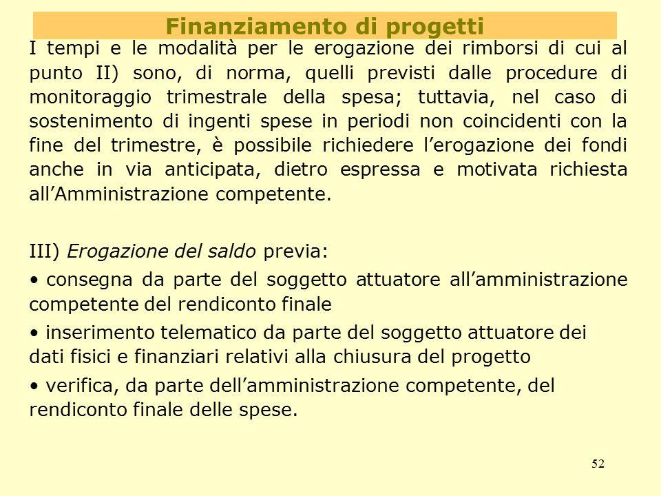 52 Finanziamento di progetti I tempi e le modalità per le erogazione dei rimborsi di cui al punto II) sono, di norma, quelli previsti dalle procedure