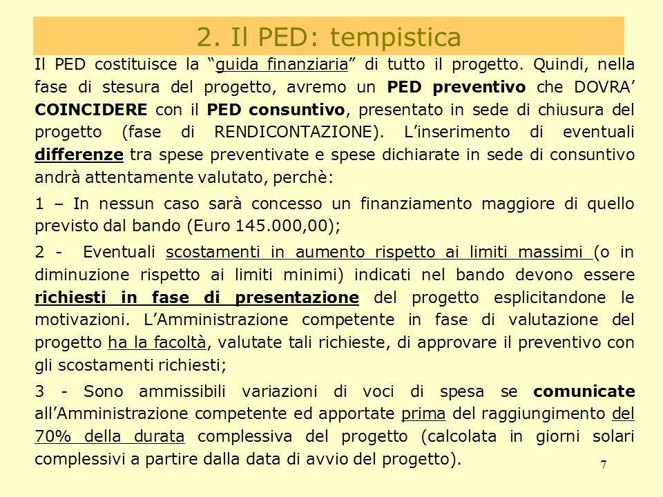 """7 2. Il PED: tempistica differenze Il PED costituisce la """"guida finanziaria"""" di tutto il progetto. Quindi, nella fase di stesura del progetto, avremo"""