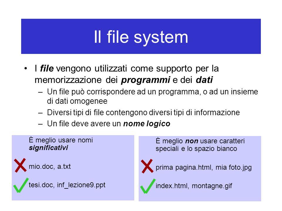 Il file system I file vengono utilizzati come supporto per la memorizzazione dei programmi e dei dati –Un file può corrispondere ad un programma, o ad un insieme di dati omogenee –Diversi tipi di file contengono diversi tipi di informazione –Un file deve avere un nome logico È meglio usare nomi significativi mio.doc, a.txt tesi.doc, inf_lezione9.ppt È meglio non usare caratteri speciali e lo spazio bianco prima pagina.html, mia foto.jpg index.html, montagne.gif