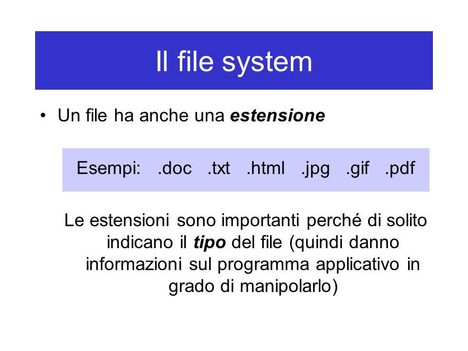 Il file system Un file ha anche una estensione Esempi:.doc.txt.html.jpg.gif.pdf Le estensioni sono importanti perché di solito indicano il tipo del file (quindi danno informazioni sul programma applicativo in grado di manipolarlo)