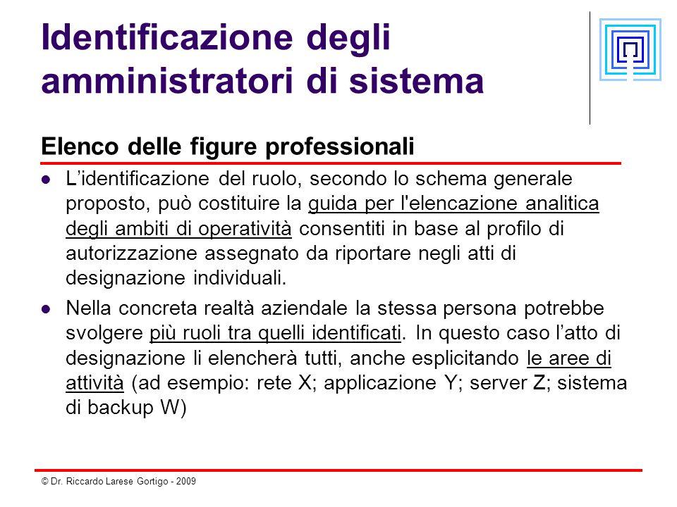 © Dr. Riccardo Larese Gortigo - 2009 Identificazione degli amministratori di sistema Elenco delle figure professionali L'identificazione del ruolo, se