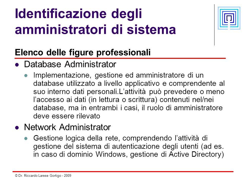 © Dr. Riccardo Larese Gortigo - 2009 Identificazione degli amministratori di sistema Elenco delle figure professionali Database Administrator Implemen