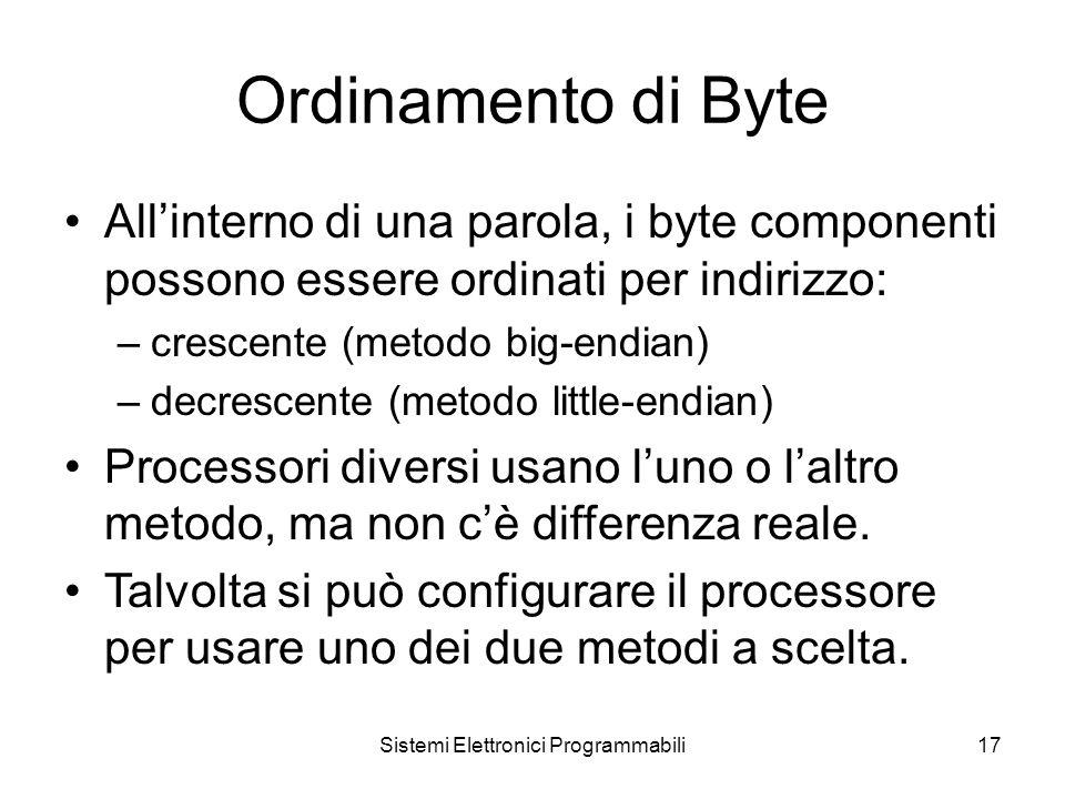 Sistemi Elettronici Programmabili17 Ordinamento di Byte All'interno di una parola, i byte componenti possono essere ordinati per indirizzo: –crescente (metodo big-endian) –decrescente (metodo little-endian) Processori diversi usano l'uno o l'altro metodo, ma non c'è differenza reale.