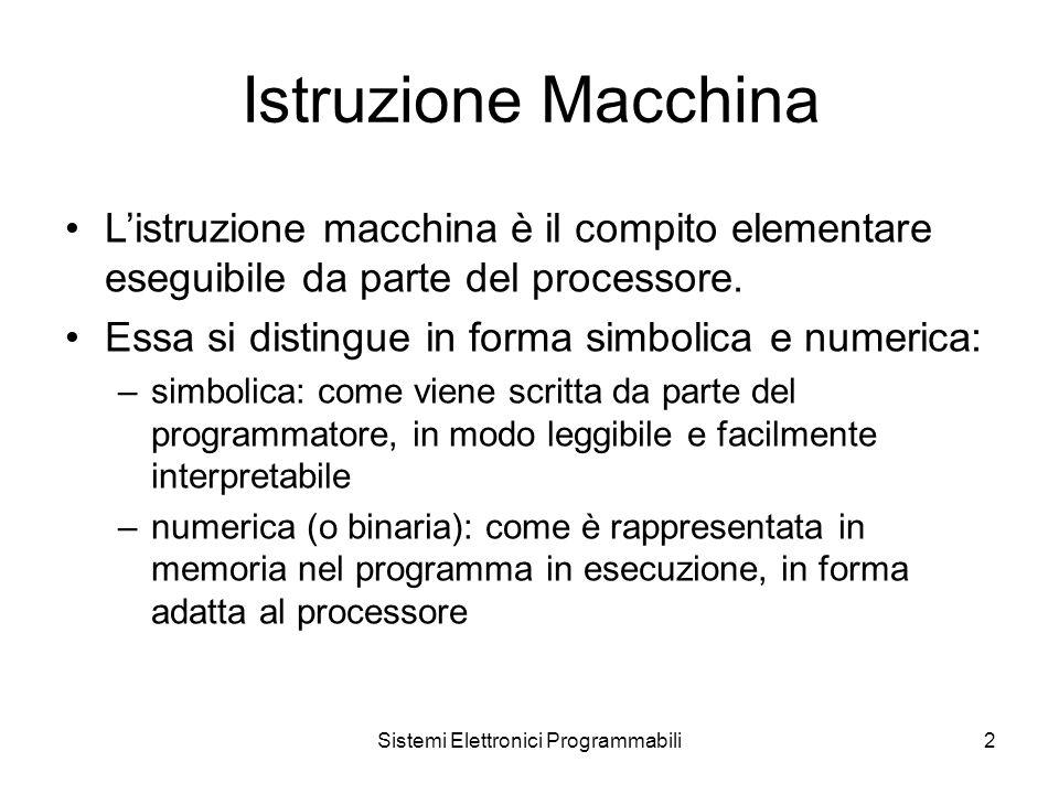 Sistemi Elettronici Programmabili2 Istruzione Macchina L'istruzione macchina è il compito elementare eseguibile da parte del processore.