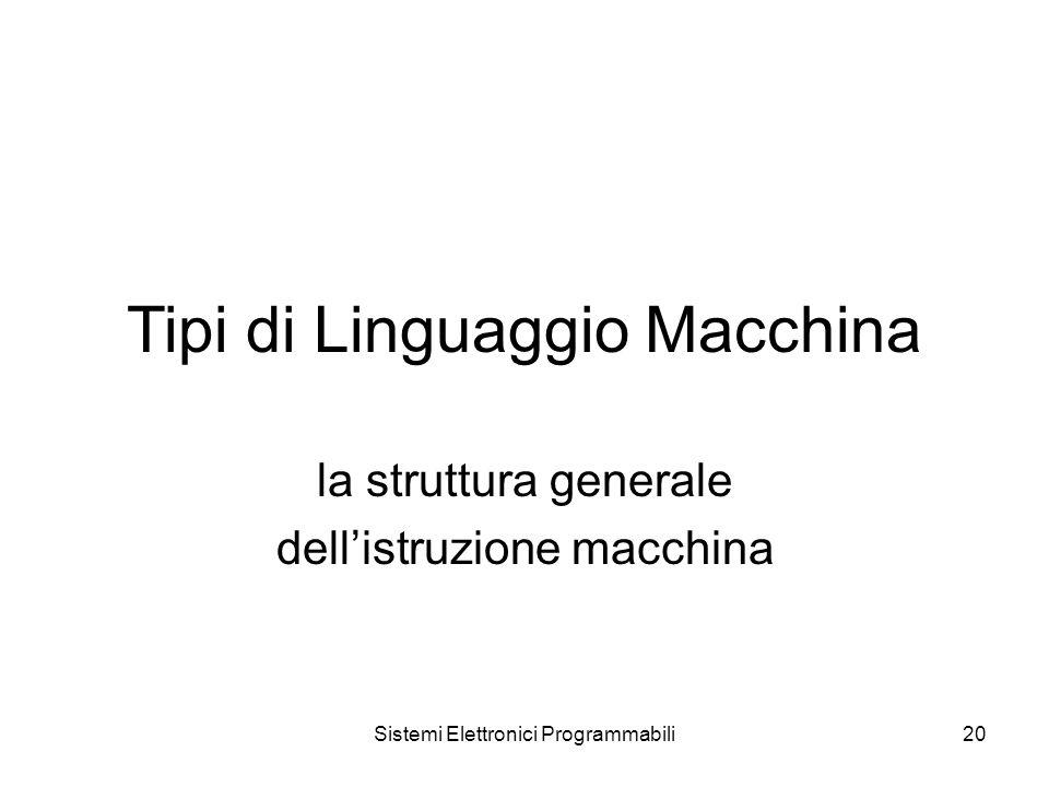 Sistemi Elettronici Programmabili20 Tipi di Linguaggio Macchina la struttura generale dell'istruzione macchina