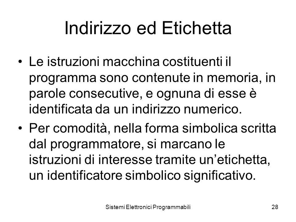 Sistemi Elettronici Programmabili28 Indirizzo ed Etichetta Le istruzioni macchina costituenti il programma sono contenute in memoria, in parole consecutive, e ognuna di esse è identificata da un indirizzo numerico.