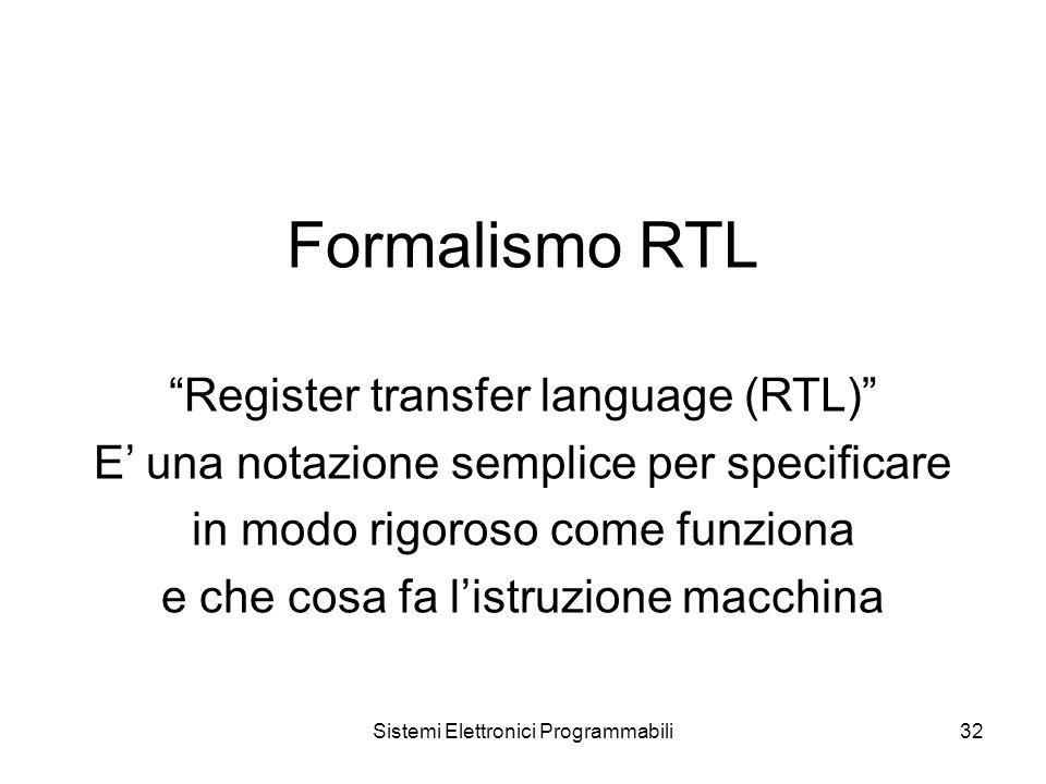Sistemi Elettronici Programmabili32 Formalismo RTL Register transfer language (RTL) E' una notazione semplice per specificare in modo rigoroso come funziona e che cosa fa l'istruzione macchina