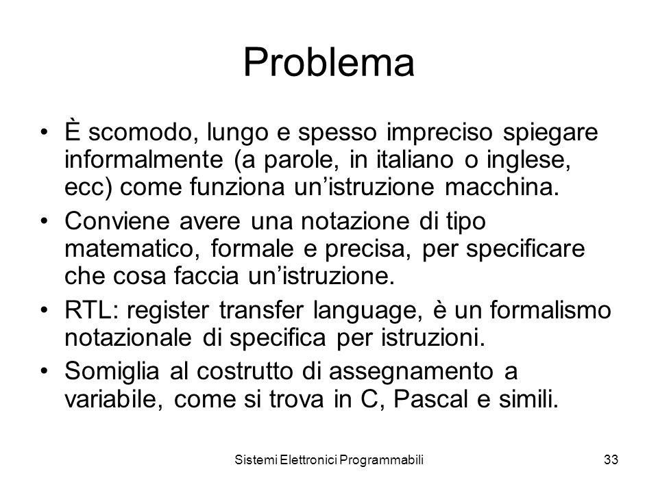 Sistemi Elettronici Programmabili33 Problema È scomodo, lungo e spesso impreciso spiegare informalmente (a parole, in italiano o inglese, ecc) come funziona un'istruzione macchina.
