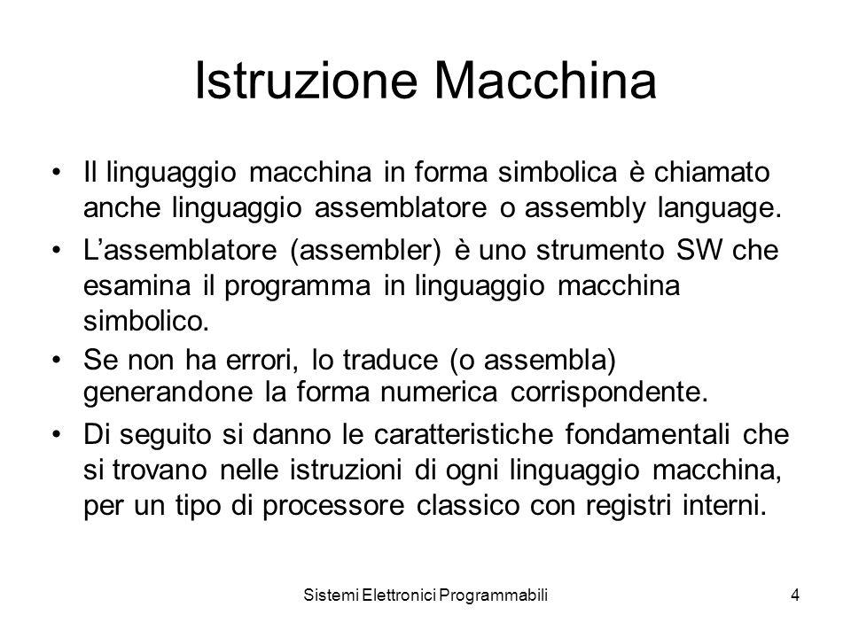 Sistemi Elettronici Programmabili4 Istruzione Macchina Il linguaggio macchina in forma simbolica è chiamato anche linguaggio assemblatore o assembly language.