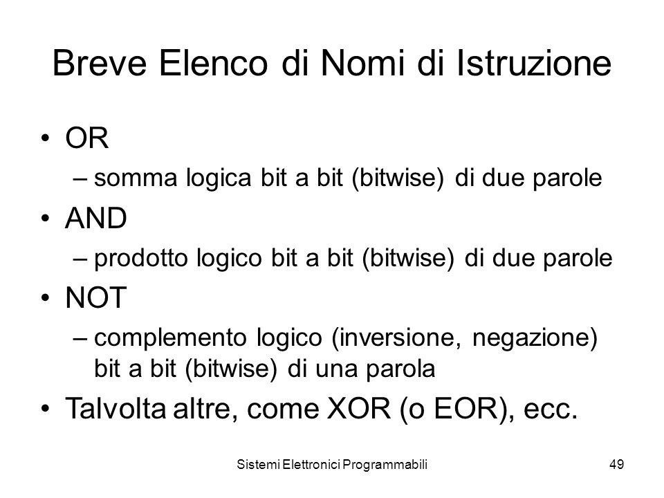 Sistemi Elettronici Programmabili49 Breve Elenco di Nomi di Istruzione OR –somma logica bit a bit (bitwise) di due parole AND –prodotto logico bit a bit (bitwise) di due parole NOT –complemento logico (inversione, negazione) bit a bit (bitwise) di una parola Talvolta altre, come XOR (o EOR), ecc.