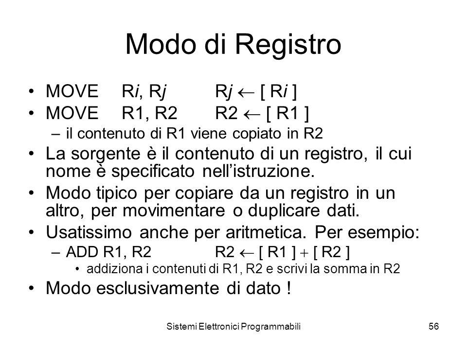 Sistemi Elettronici Programmabili56 Modo di Registro MOVERi, RjRj  [ Ri ] MOVER1, R2R2  [ R1 ] –il contenuto di R1 viene copiato in R2 La sorgente è il contenuto di un registro, il cui nome è specificato nell'istruzione.