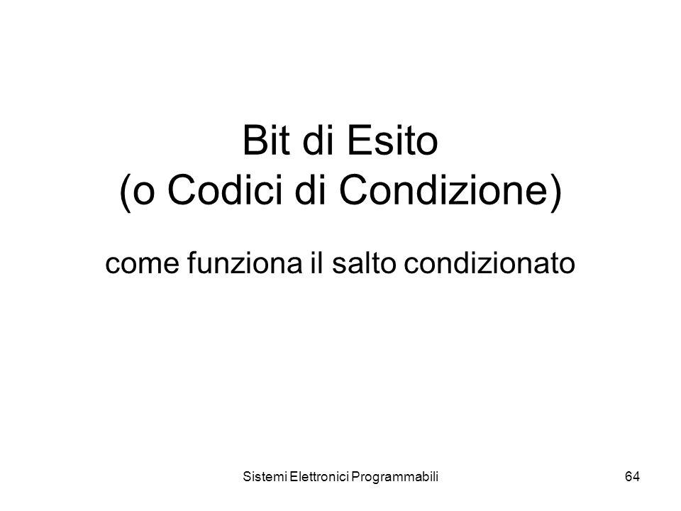 Sistemi Elettronici Programmabili64 Bit di Esito (o Codici di Condizione) come funziona il salto condizionato