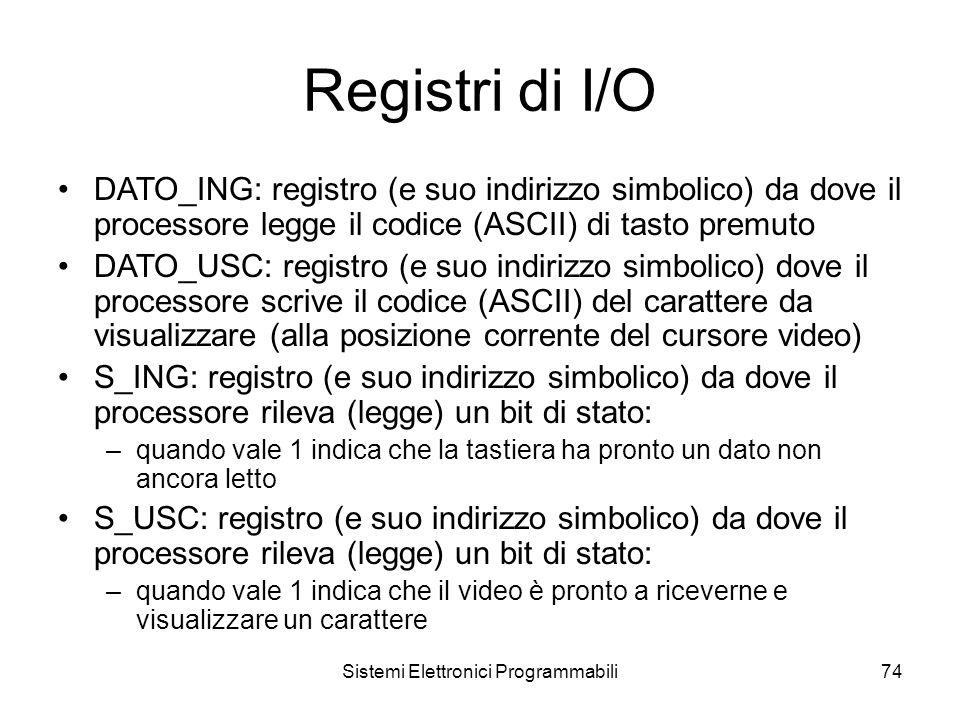 Sistemi Elettronici Programmabili74 Registri di I/O DATO_ING: registro (e suo indirizzo simbolico) da dove il processore legge il codice (ASCII) di tasto premuto DATO_USC: registro (e suo indirizzo simbolico) dove il processore scrive il codice (ASCII) del carattere da visualizzare (alla posizione corrente del cursore video) S_ING: registro (e suo indirizzo simbolico) da dove il processore rileva (legge) un bit di stato: –quando vale 1 indica che la tastiera ha pronto un dato non ancora letto S_USC: registro (e suo indirizzo simbolico) da dove il processore rileva (legge) un bit di stato: –quando vale 1 indica che il video è pronto a riceverne e visualizzare un carattere
