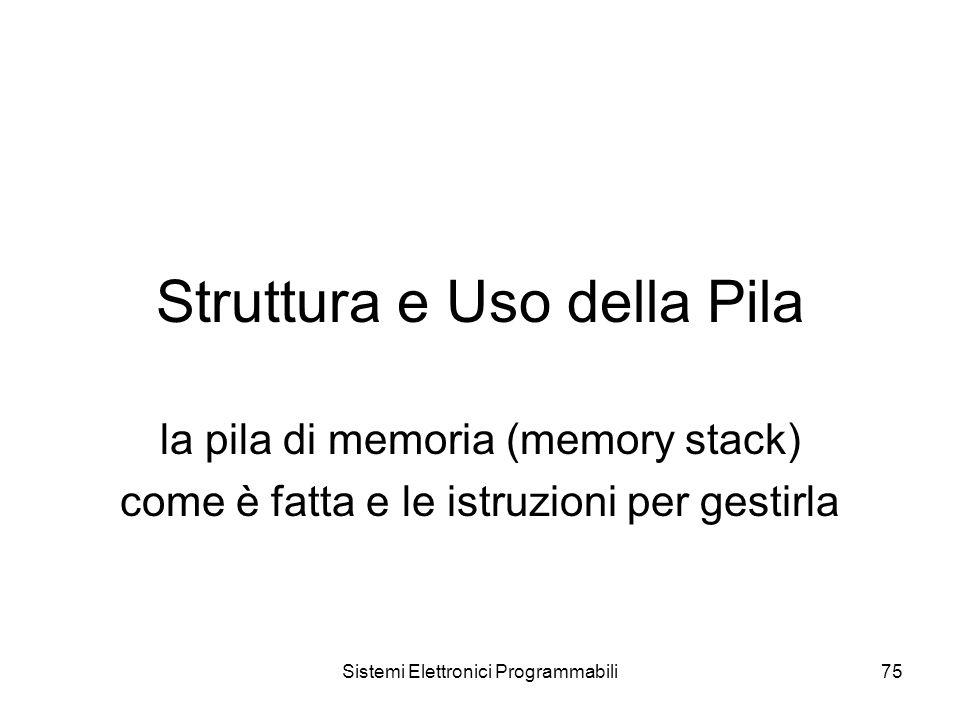 Sistemi Elettronici Programmabili75 Struttura e Uso della Pila la pila di memoria (memory stack) come è fatta e le istruzioni per gestirla