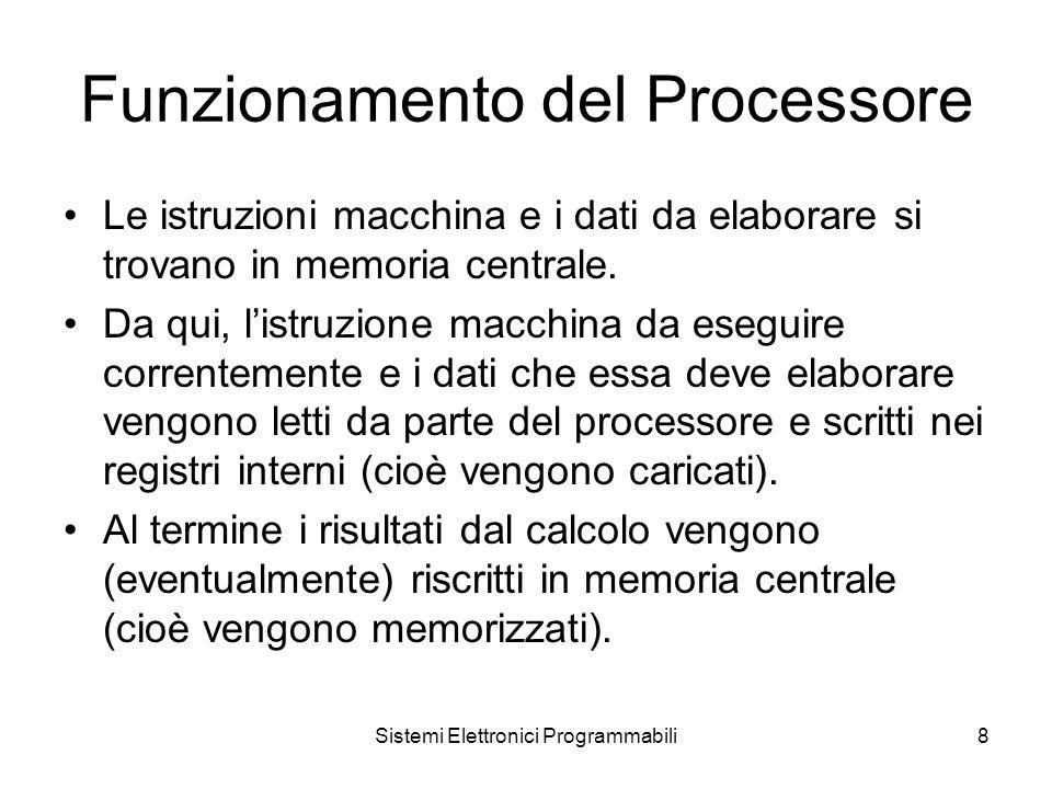 Sistemi Elettronici Programmabili8 Funzionamento del Processore Le istruzioni macchina e i dati da elaborare si trovano in memoria centrale.