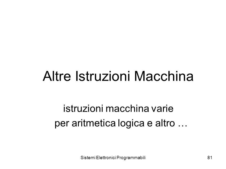 Sistemi Elettronici Programmabili81 Altre Istruzioni Macchina istruzioni macchina varie per aritmetica logica e altro …