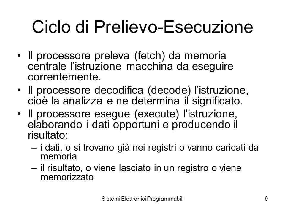 Sistemi Elettronici Programmabili9 Ciclo di Prelievo-Esecuzione Il processore preleva (fetch) da memoria centrale l'istruzione macchina da eseguire correntemente.