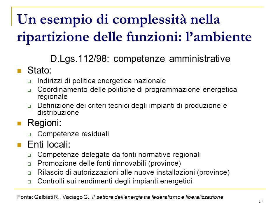 17 Un esempio di complessità nella ripartizione delle funzioni: l'ambiente D.Lgs.112/98: competenze amministrative Stato:  Indirizzi di politica ener