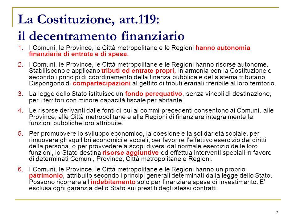 2 La Costituzione, art.119: il decentramento finanziario 1.I Comuni, le Province, le Città metropolitane e le Regioni hanno autonomia finanziaria di entrata e di spesa.