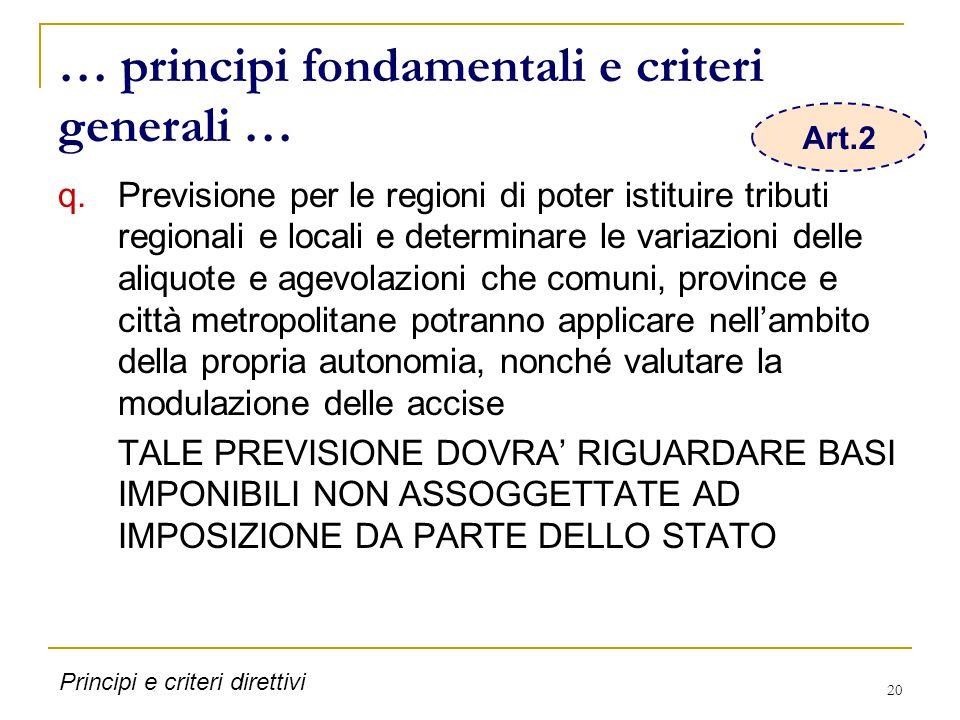 20 … principi fondamentali e criteri generali … q.Previsione per le regioni di poter istituire tributi regionali e locali e determinare le variazioni