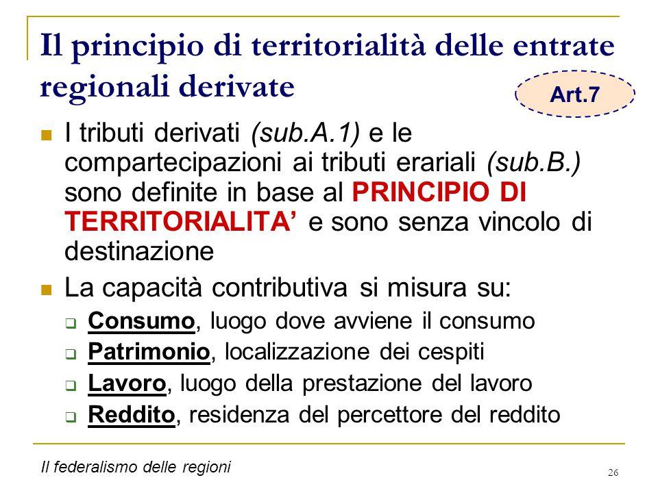 26 Il principio di territorialità delle entrate regionali derivate I tributi derivati (sub.A.1) e le compartecipazioni ai tributi erariali (sub.B.) so