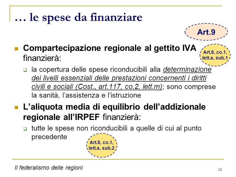28 … le spese da finanziare Compartecipazione regionale al gettito IVA finanzierà:  la copertura delle spese riconducibili alla determinazione dei li