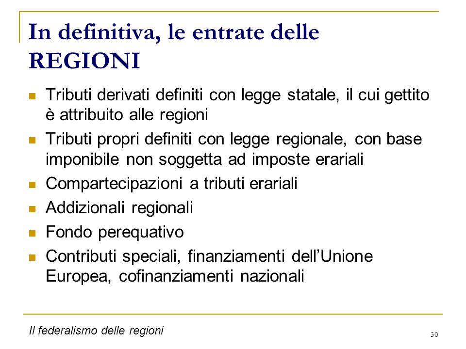 30 In definitiva, le entrate delle REGIONI Tributi derivati definiti con legge statale, il cui gettito è attribuito alle regioni Tributi propri defini