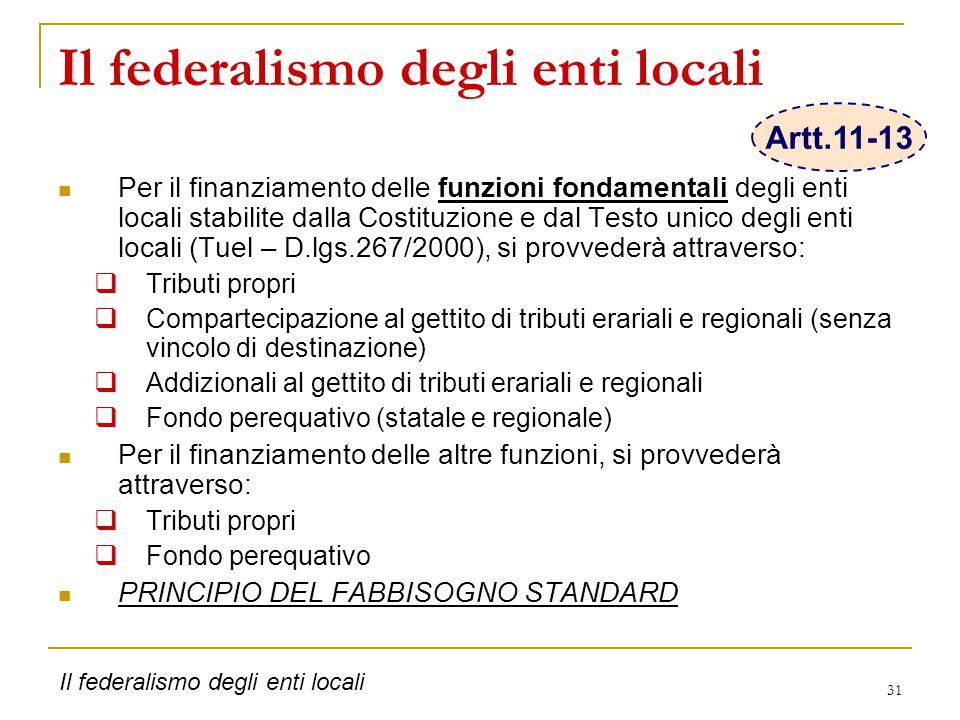 31 Il federalismo degli enti locali Per il finanziamento delle funzioni fondamentali degli enti locali stabilite dalla Costituzione e dal Testo unico degli enti locali (Tuel – D.lgs.267/2000), si provvederà attraverso:  Tributi propri  Compartecipazione al gettito di tributi erariali e regionali (senza vincolo di destinazione)  Addizionali al gettito di tributi erariali e regionali  Fondo perequativo (statale e regionale) Per il finanziamento delle altre funzioni, si provvederà attraverso:  Tributi propri  Fondo perequativo PRINCIPIO DEL FABBISOGNO STANDARD Il federalismo degli enti locali Artt.11-13