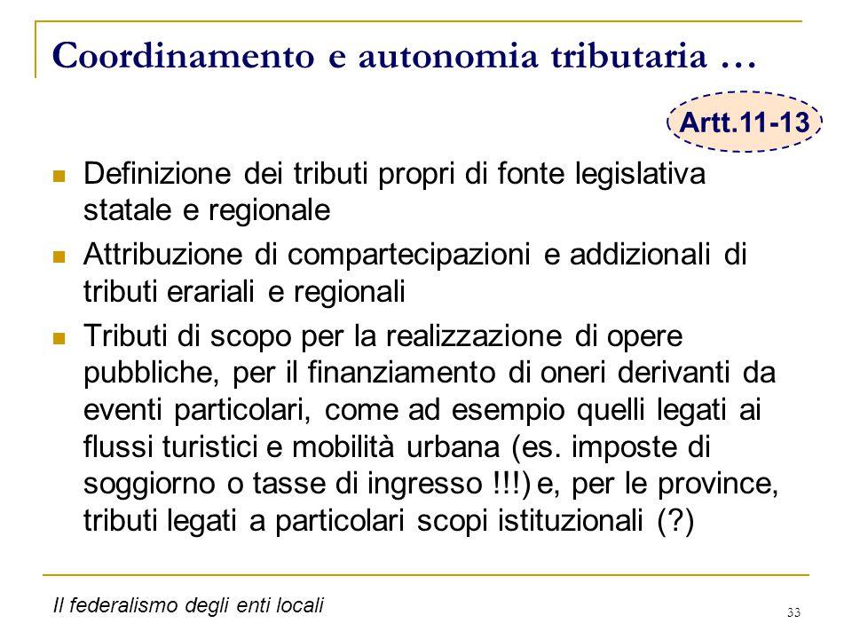 33 Coordinamento e autonomia tributaria … Definizione dei tributi propri di fonte legislativa statale e regionale Attribuzione di compartecipazioni e