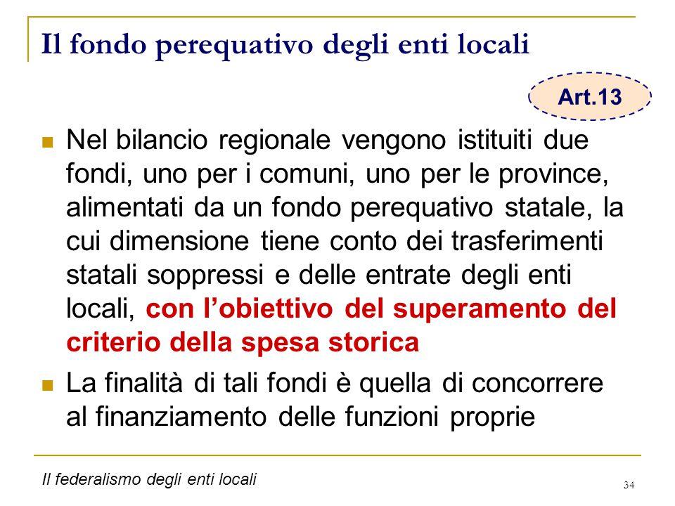 34 Il fondo perequativo degli enti locali Nel bilancio regionale vengono istituiti due fondi, uno per i comuni, uno per le province, alimentati da un