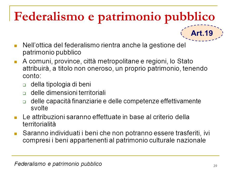 39 Federalismo e patrimonio pubblico Nell'ottica del federalismo rientra anche la gestione del patrimonio pubblico A comuni, province, città metropoli