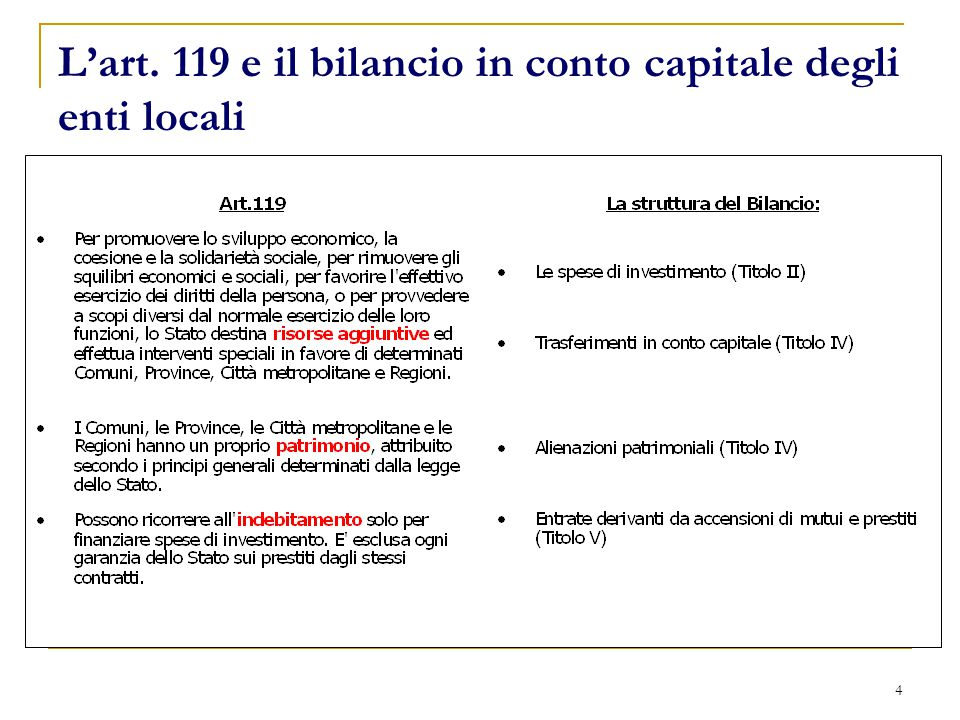 4 L'art. 119 e il bilancio in conto capitale degli enti locali