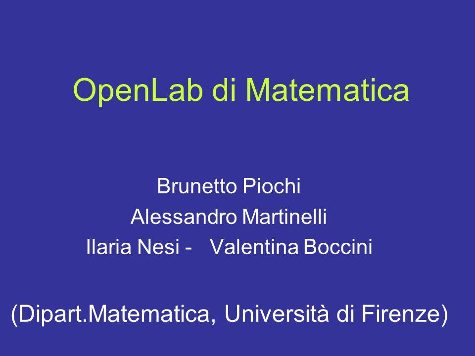 OpenLab di Matematica Brunetto Piochi Alessandro Martinelli Ilaria Nesi - Valentina Boccini (Dipart.Matematica, Università di Firenze)