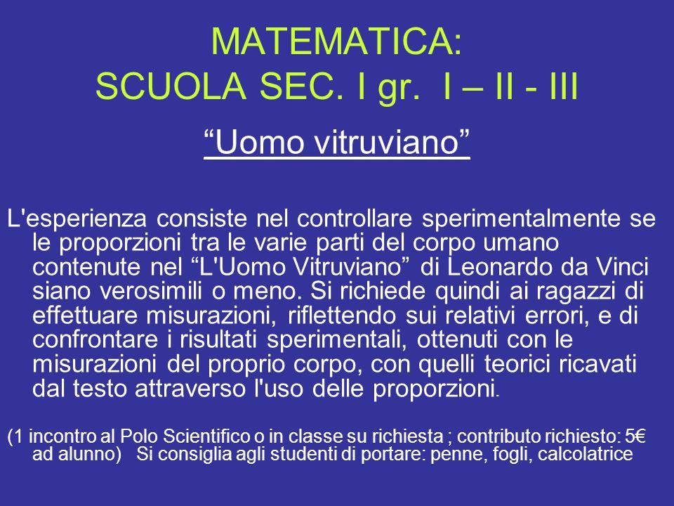 """MATEMATICA: SCUOLA SEC. I gr. I – II - III """"Uomo vitruviano"""" L'esperienza consiste nel controllare sperimentalmente se le proporzioni tra le varie par"""