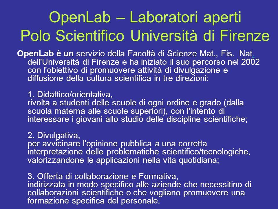 OpenLab – Laboratori aperti Polo Scientifico Università di Firenze OpenLab è un servizio della Facoltà di Scienze Mat., Fis. Nat. dell'Università di F