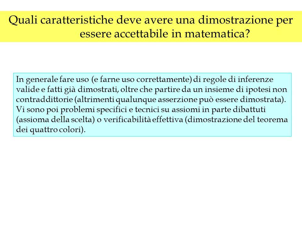 Quali caratteristiche deve avere una dimostrazione per essere accettabile in matematica? In generale fare uso (e farne uso correttamente) di regole di