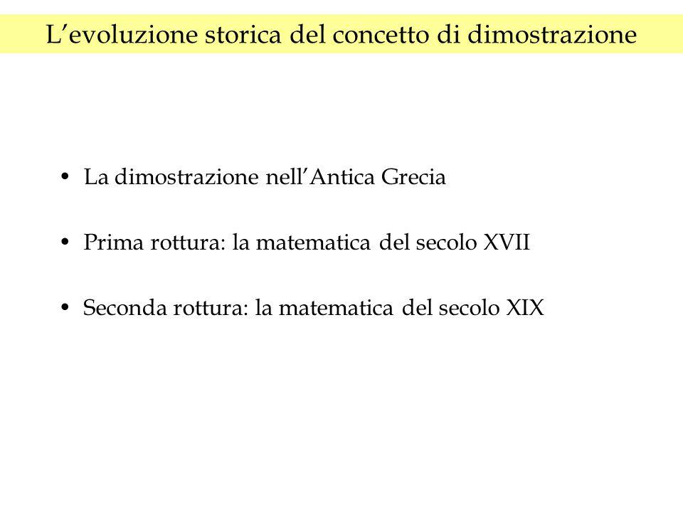 L'evoluzione storica del concetto di dimostrazione La dimostrazione nell'Antica Grecia Prima rottura: la matematica del secolo XVII Seconda rottura: l