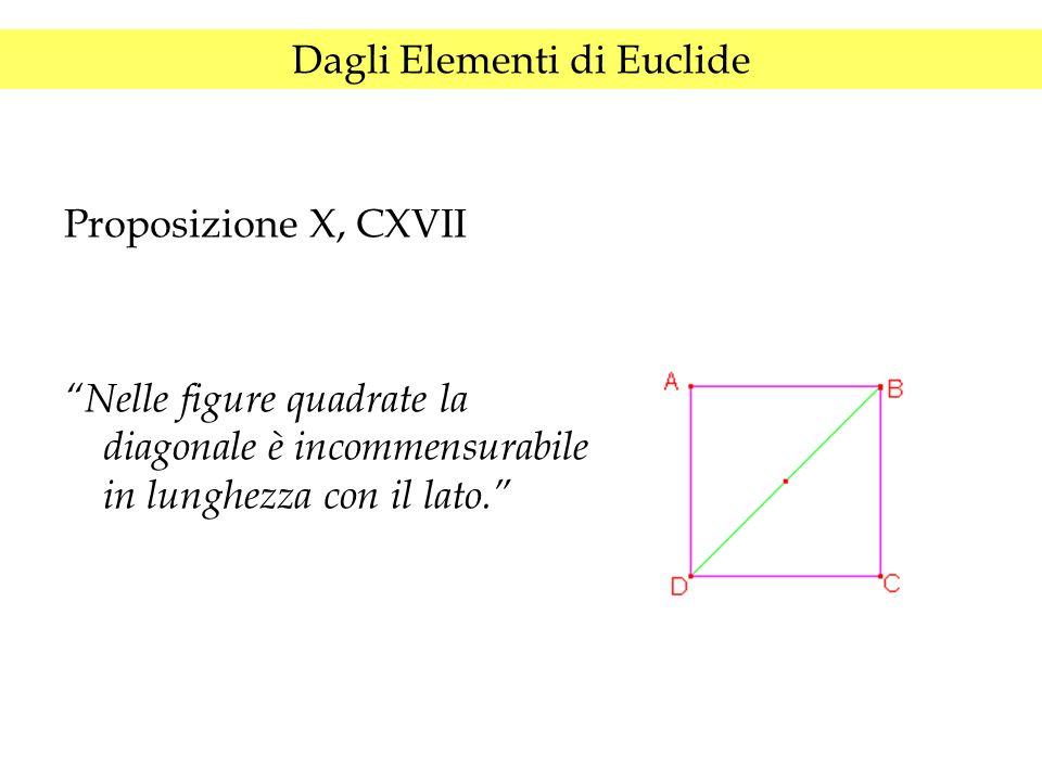 """Dagli Elementi di Euclide Proposizione X, CXVII """"Nelle figure quadrate la diagonale è incommensurabile in lunghezza con il lato."""""""