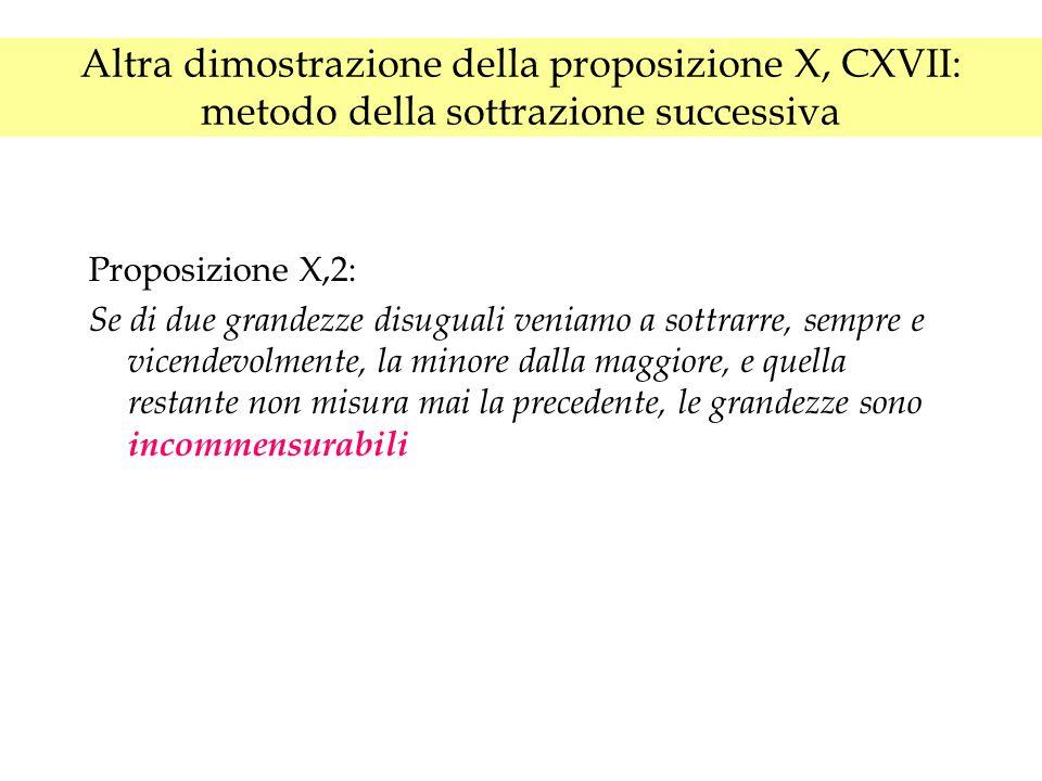 Altra dimostrazione della proposizione X, CXVII: metodo della sottrazione successiva Proposizione X,2: Se di due grandezze disuguali veniamo a sottrarre, sempre e vicendevolmente, la minore dalla maggiore, e quella restante non misura mai la precedente, le grandezze sono incommensurabili