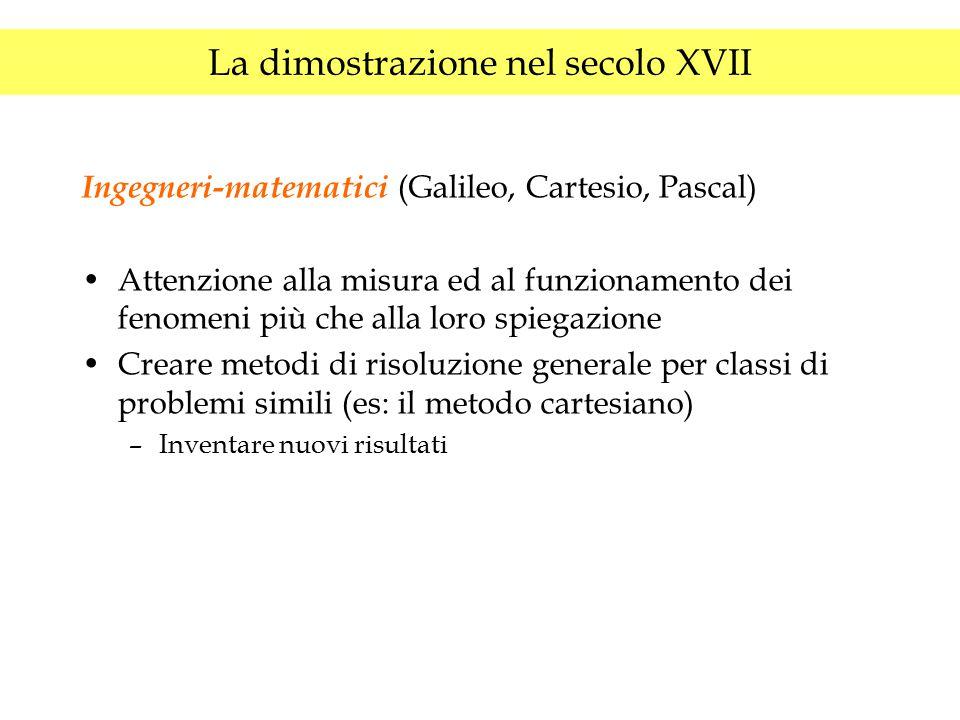 La dimostrazione nel secolo XVII Ingegneri-matematici (Galileo, Cartesio, Pascal) Attenzione alla misura ed al funzionamento dei fenomeni più che alla