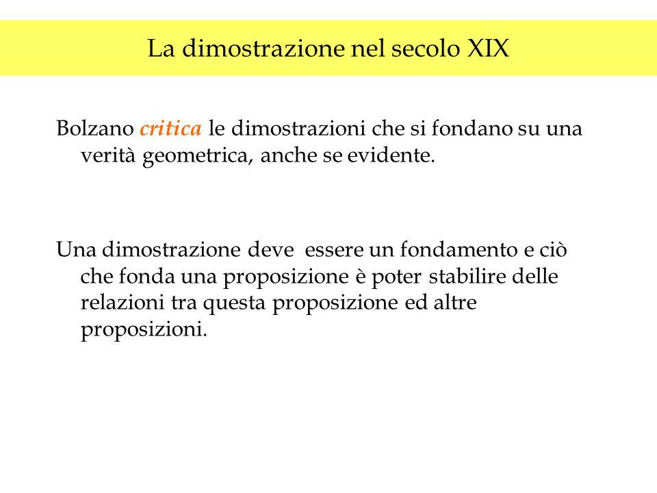 La dimostrazione nel secolo XIX Bolzano critica le dimostrazioni che si fondano su una verità geometrica, anche se evidente. Una dimostrazione deve es