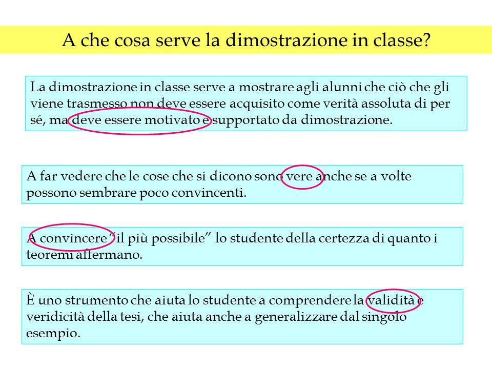 """A convincere """"il più possibile"""" lo studente della certezza di quanto i teoremi affermano. A che cosa serve la dimostrazione in classe? La dimostrazion"""