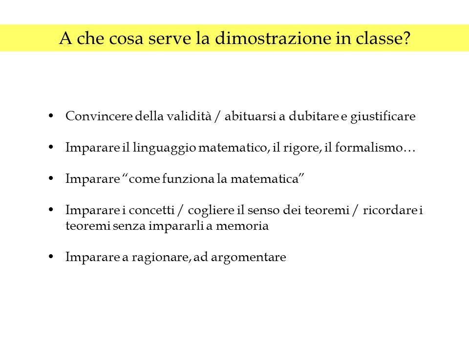 A che cosa serve la dimostrazione in classe? Convincere della validità / abituarsi a dubitare e giustificare Imparare il linguaggio matematico, il rig