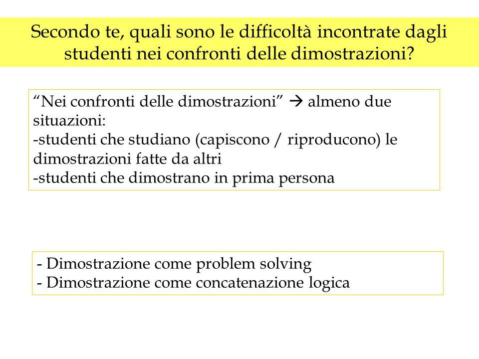 """Secondo te, quali sono le difficoltà incontrate dagli studenti nei confronti delle dimostrazioni? """"Nei confronti delle dimostrazioni""""  almeno due sit"""