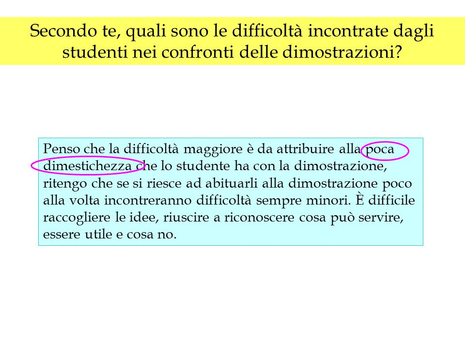 Secondo te, quali sono le difficoltà incontrate dagli studenti nei confronti delle dimostrazioni? Penso che la difficoltà maggiore è da attribuire all