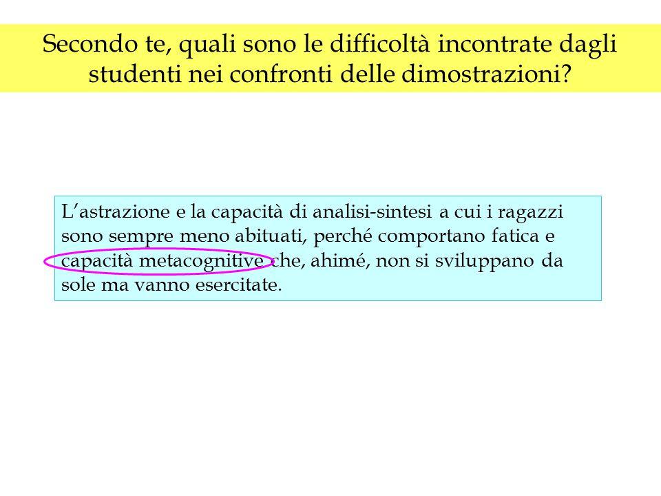 Secondo te, quali sono le difficoltà incontrate dagli studenti nei confronti delle dimostrazioni? L'astrazione e la capacità di analisi-sintesi a cui