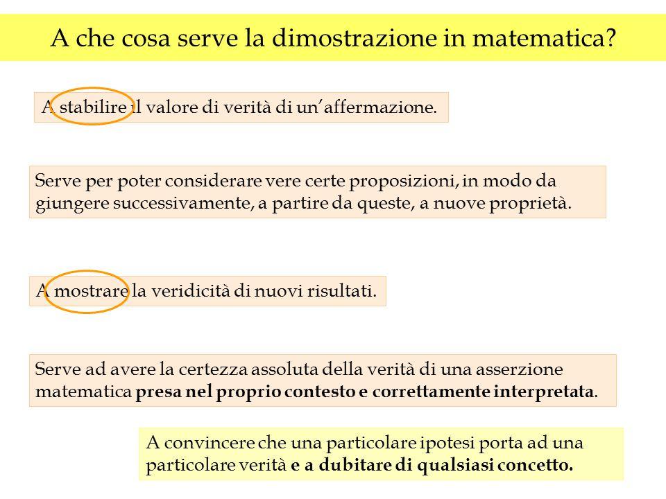 A che cosa serve la dimostrazione in matematica? Serve per poter considerare vere certe proposizioni, in modo da giungere successivamente, a partire d