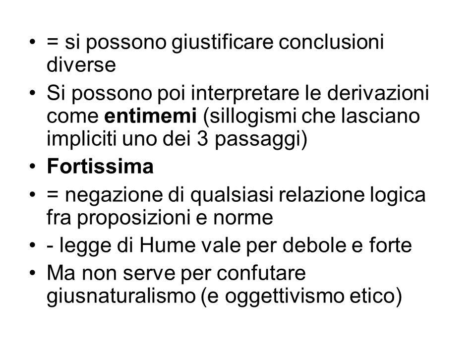 = si possono giustificare conclusioni diverse Si possono poi interpretare le derivazioni come entimemi (sillogismi che lasciano impliciti uno dei 3 pa