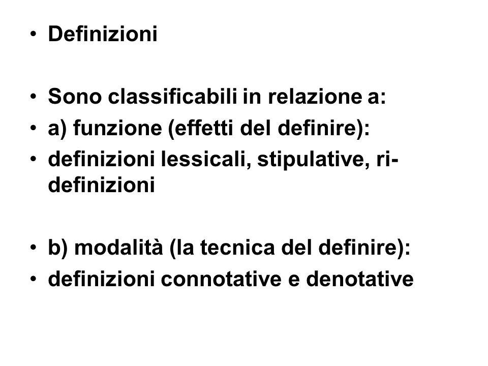 a) funzione definizioni lessicali = informano sul significato o sui diversi significati di un vocabolo (dizionari) definizioni stipulative = quelle che attribuiscono a una parola un senso meramente tecnico = nuovo rispetto a quelli lessicali ri-definizioni = attribuzione di uno dei diversi significati lessicali = tecnicizzato
